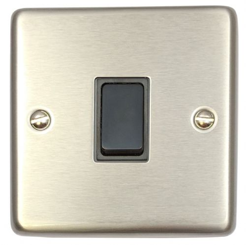 G&H CSS1B Standard Plate Brushed Steel 1 Gang 1 or 2 Way Rocker Light Switch